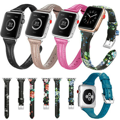 Genuine Leather Thin Wrist Band Strap For Apple Watch 5 4 3 2 1 38/42mm 40/44mm