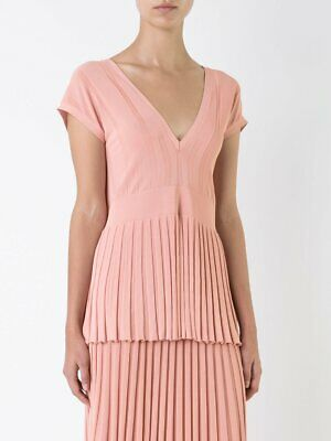 Scanlan & Theodore Pleated Rib V-Neck Top Coral SIZE SM (Small Medium) RRP$400