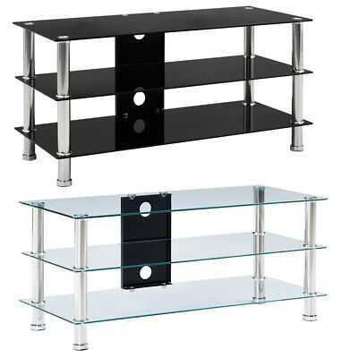 TV Stand Unit Table Tempered Glass HIFI Table Top 3 Tier Shelf Rack Storage NEW