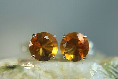 Natural 0.90ct Oval Citrine .925 Silver Stud Earrings
