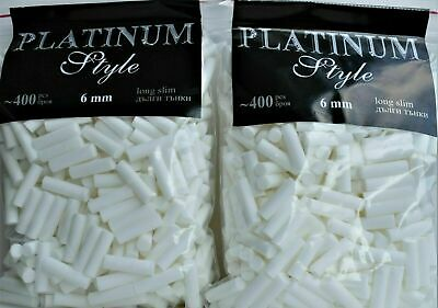 800 x Cigarette Rolling Filter Tips Long Slim Filters 6x22mm Resealable Packages