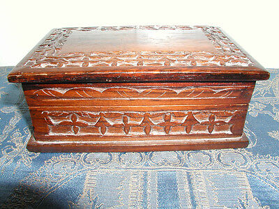 Antique Black Forest Hand Carved Box From Rose Wood.