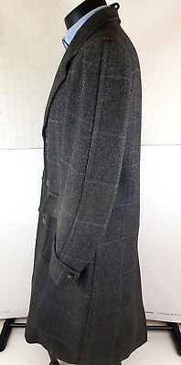 Vintage Herringbone Mens Wool Coat UK 42 Margil Grey Double cuff Peaky B36
