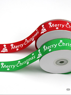 10mm / 25mm Width Grossgrain Ribbon Merry Christmas Wrap Decor Sold By the Meter