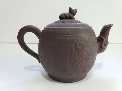 Chinese Yixing Zisha Brown Pottery Teapot Tea Pot Floral Design Artist Signed
