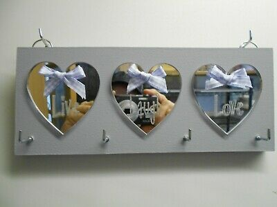 Live, Laugh, Love, Key Holder, Grey, with Silver mirror hearts