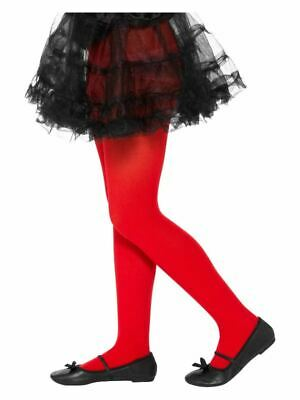 Girls Red Opaque Tights Age 6-12 Years Fancy Dress Accessory Christmas Halloween
