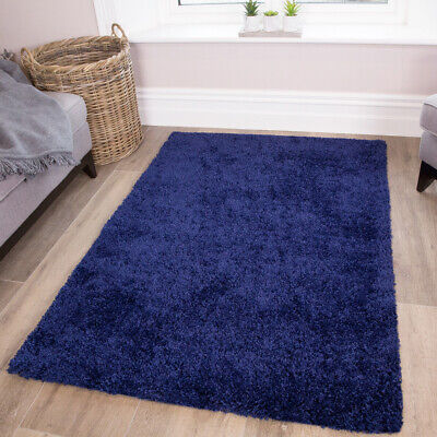 NAVY BLUE Modern Soft Shaggy Rug Carpet Thick Pile Rectangle Living Room Bedroom