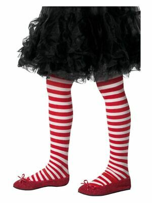 Girls Red & White Striped Tights Age 6-12 Christmas Fancy Dress Accessory