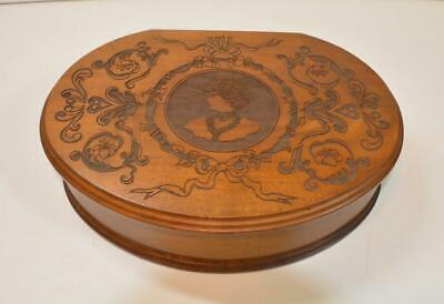 Antique or Vtg large mahogany or rosewood oval hinged box Victorian Engraving