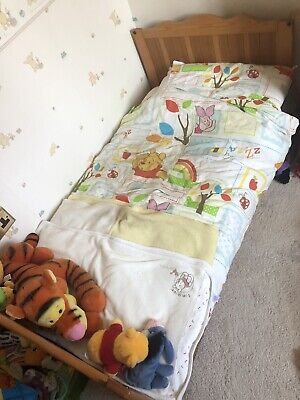 Junior kids toddler pine white bed with mattress and drawer 160x70cm Timi S