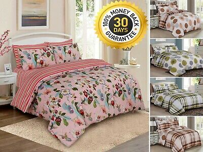 4 Piece Complete Bedding Set Duvet Quilt Cover Cotton Rich Classic Bedding Set