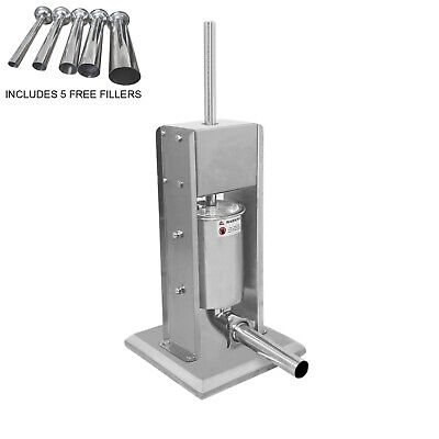 Commercial Sausage Stuffer Filler Machine #304 Stainless Steel 5 Funnel Sizes 3L