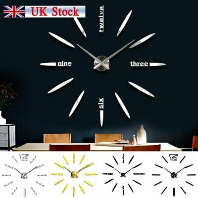 DIY 3D Large Number Mirror Wall Clock Sticker Decor for Home Office Kids Room UK