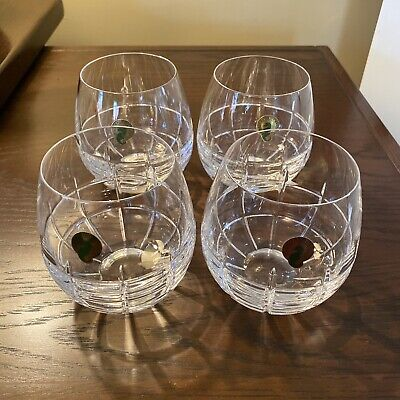 BRAND NEW Waterford Crystal Cluin Stemless Red Wine Glasses, Set of 4 - Signed