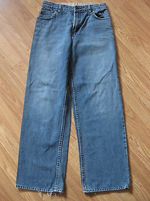 Gap Size 14 Boys Loose Fit Jeans 100% Cotton Distressed Frayed Edge 27 x 27.5
