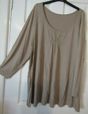 NEW Plus Size 16-32 Triangle Print Fluted Sleeve Beige Black Tunic Top Blouse