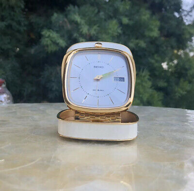 Vintage Seiko Diafix 8 Jewels Wind Up Travel Alarm Clock In Leather Case Running