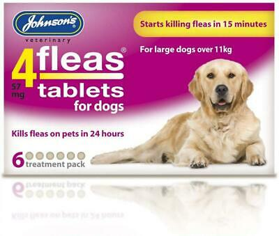 Johnsons Veterinary Products 4Fleas Dog Tablets, Large, 57 mg, 6 Large dog