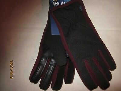 new womens ISOTONER GLOVES touchscreen SMART-DRI poly SPANDEX warm henna L/XL