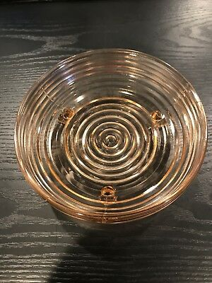 Vintage Pink Peach Depression Glass Footed Candy Bowl / Dish
