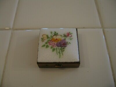 Beautiful Vintage White Enamel Guilloche Floral Top Pill Or Trinket Box