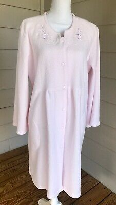 Miss Elaine Sz LARGE Snap Front Robe Light Pink Terry Fleece Embroidered Top Frt