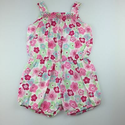 Girls size 1, Sprout, floral cotton playsuit, GUC