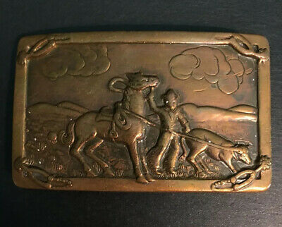 Vintage Copper Belt Buckle Horse Cowboy Calf Roping  Rodeo (excellent Detail)