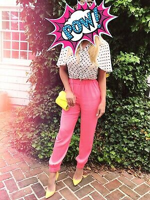 250$ MILLY Silk Summer Joggers Pants in Bright Pink Small 4