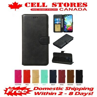 Leather Magnetic Card Slot Wallet Flip Cover Stand Case for LG Q60