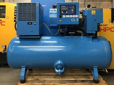 Boge CLD5-270 Receiver Mounted Rotary Screw Compressor With Dryer! 19Cfm! 4Kw!