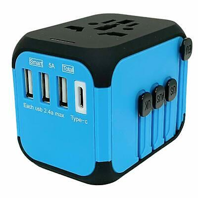 International Universal Travel Adapter Safe Fuse Adapter - Blue 3 USB and Type-C