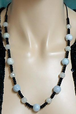 Chinese White Jade Bead Necklace Alternating Smooth & Faceted On Braided Cord