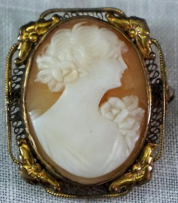 Lovely Antique Carved Cameo Brooch Pin Bust of Lady with Flowers in hair