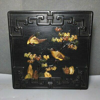 """7"""" Chinese old Antique huanghuali wood inlay double bird jewelry box"""