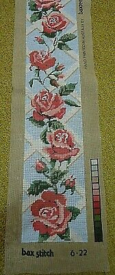Tapestry completed. Roses. 15.5 cm x 75 cm. Has been framed.