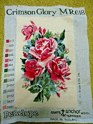 Tapestry completed. Crimson Glory, roses. 22.5 cm x 35 cm. Has been framed.