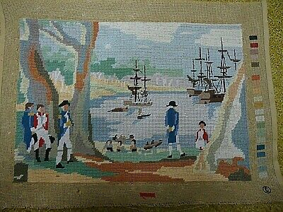 Tapestry completed. Colonial scene. 40 cm x  28 cm. Has been framed.
