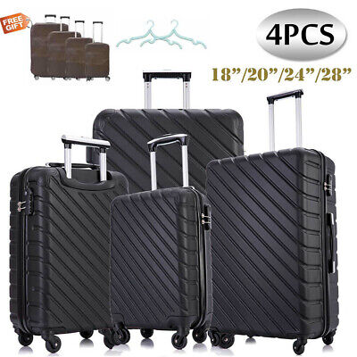 4 ABS Nested Luggage Set Travel Trolley Carry On Spinner Suitcase W/ Lock Black