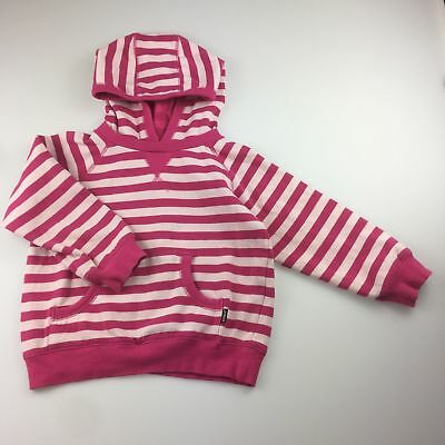 Girls size 5, Bonds, pink stripe, fleece lined hoodie / hooded sweater, GUC