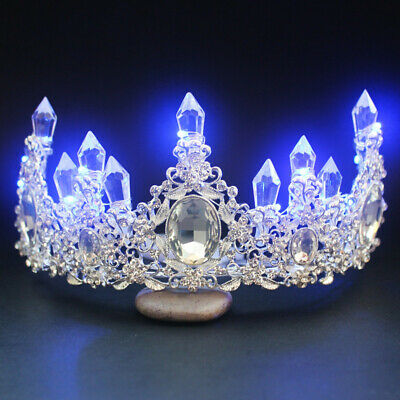 LED Light Bride Princess Crown Tiara Glowing Rhinestone Headwear Hair Accessory