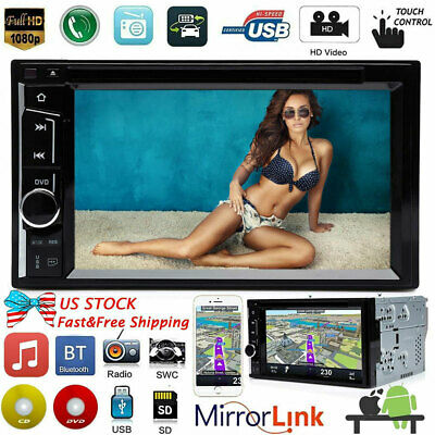 "6.2"" Double 2Din Car Stereo DVD CD Player HD In Dash Bluetooth AM FM Radio + CAM"