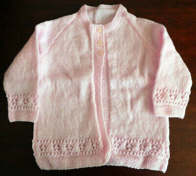 """Hand Knitted - Pink Girls Cardigan - Chest 24"""" - NEW"""