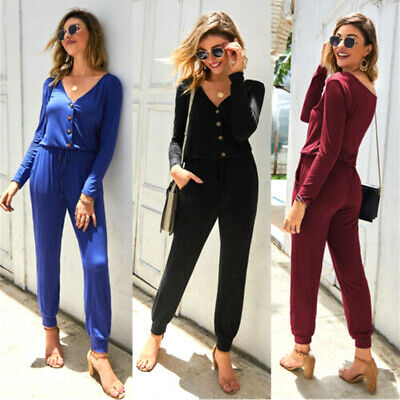 Women Jumpsuit Romper Long Sleeve Playsuit Clubwear Trousers Bodycon Pant Outfit