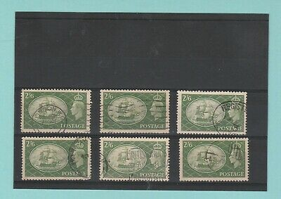 STAMPS  -  BRITISH  -  6  X  2/6d  STAMPS  -  KING  GEORGE  VI  -  1951