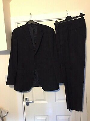 """Taylor & Wright Matalan Mens Suit Chest 42 W38"""" L29"""" Black Pinstripe Formal A618"""
