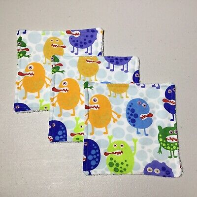Handmade Baby Wipes / Face Washer Set ~ Three Pack ~ Monsters Print