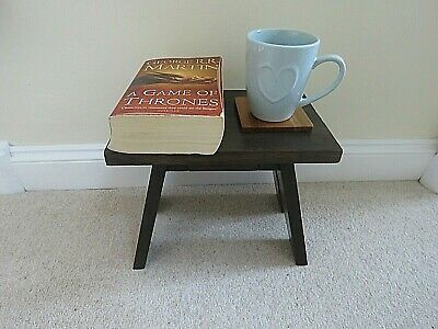 Small wooden side table / cracket / milking stool handmade, dark walnut colour