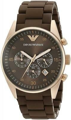 New Mens Emporio Armani Sportivo Brown Chronograph Watch AR5890